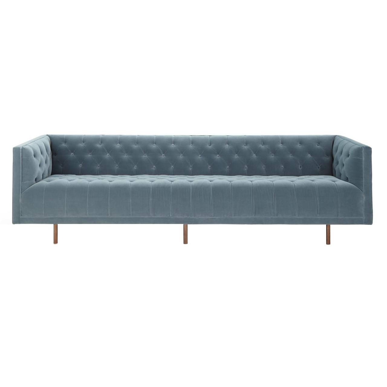 Lynette blue velvet tufted sofa 108 zin home
