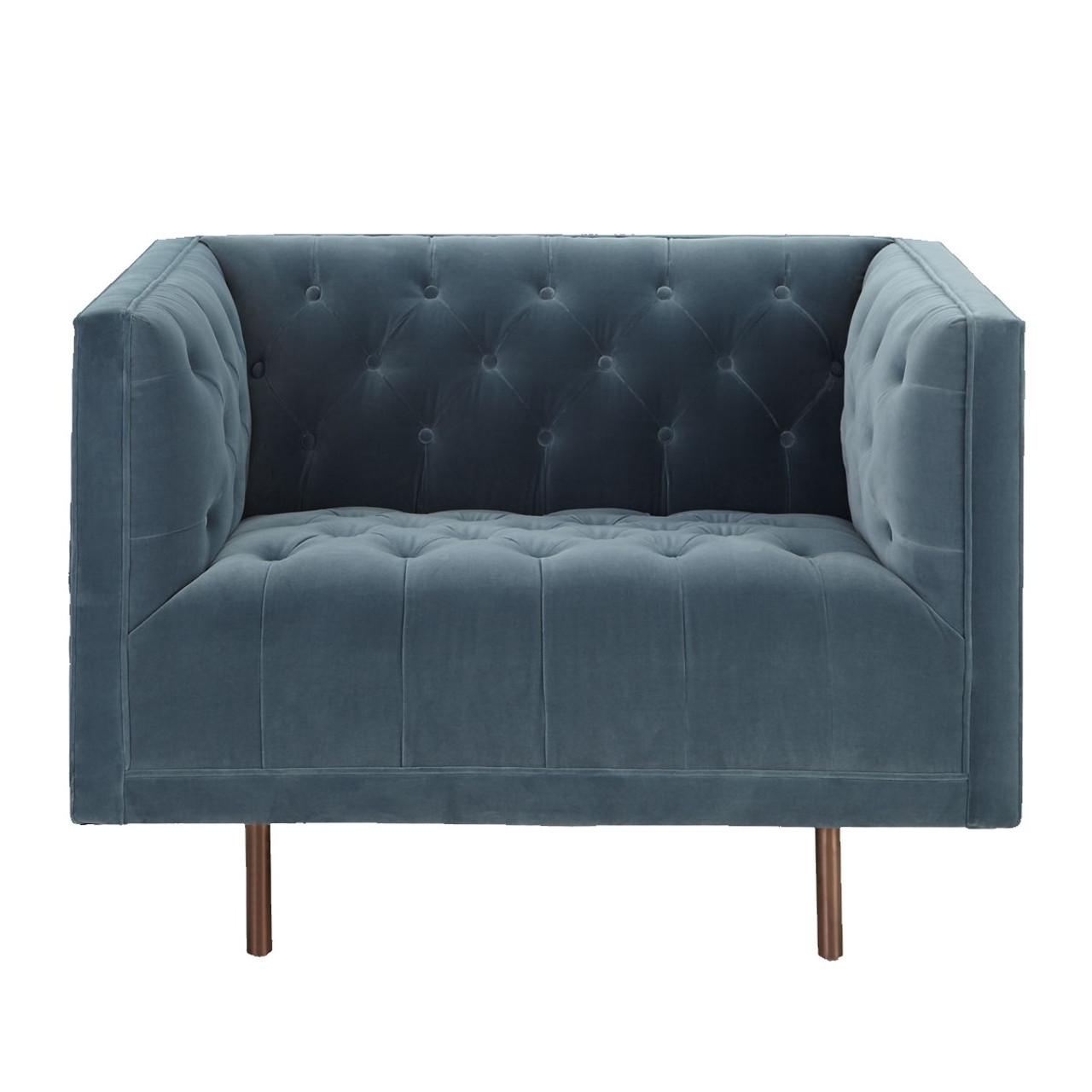 Astounding Lynette Blue Velvet Tufted Lounge Chair Machost Co Dining Chair Design Ideas Machostcouk