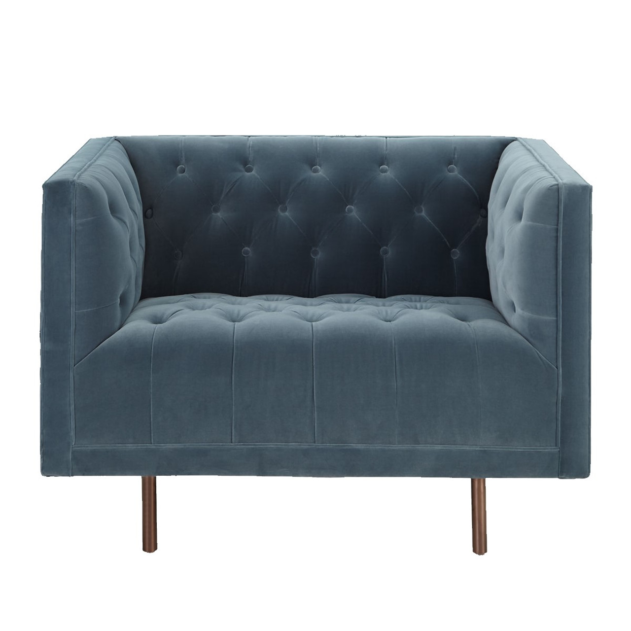 Picture of: Lynette Blue Velvet Tufted Lounge Chair Zin Home