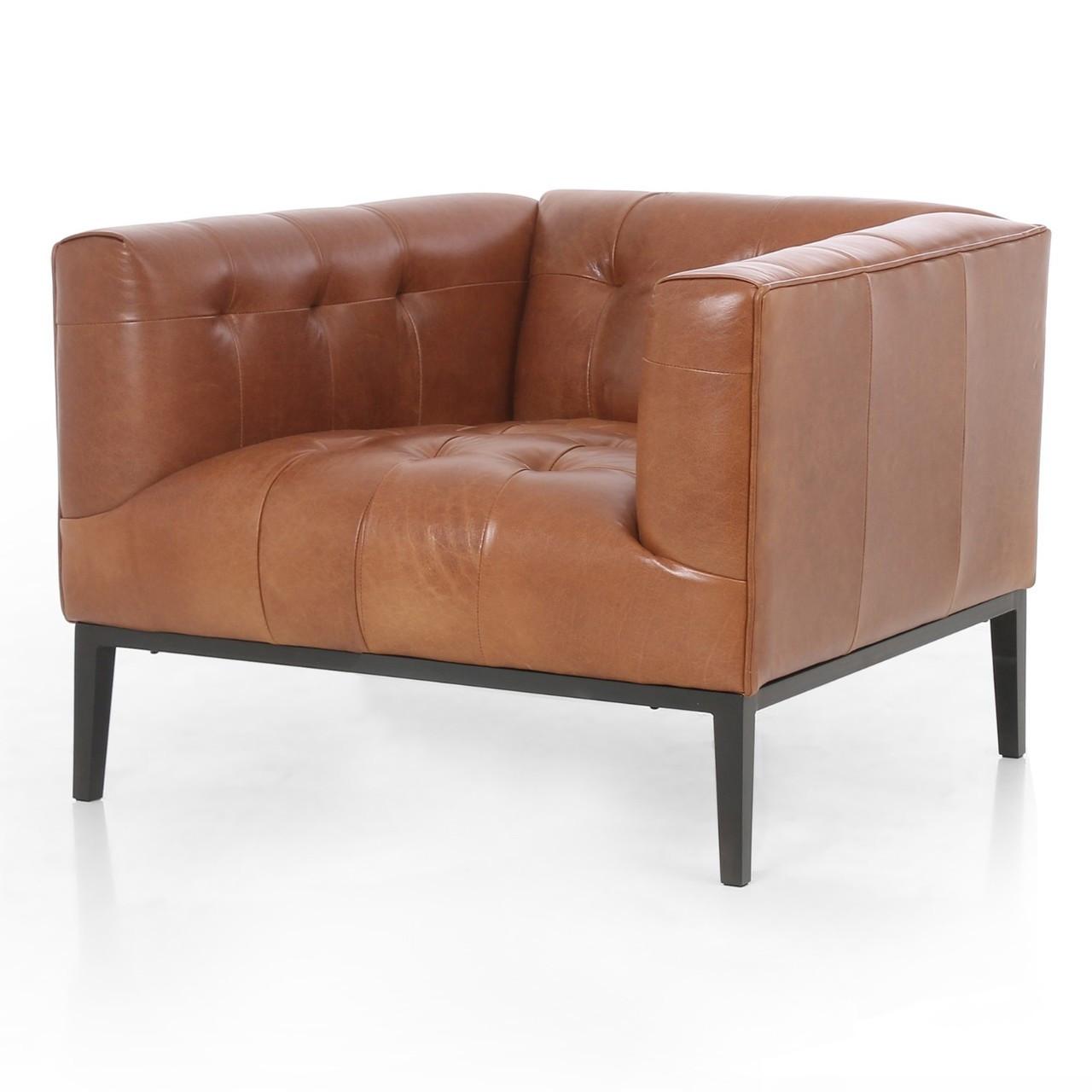 Marlin Modern Sycamore Tan Leather Tufted Club Chair