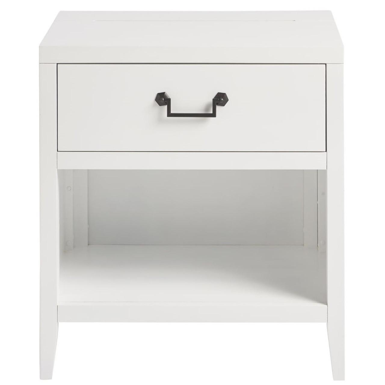 Boho Chic Modern White 1 Drawer Nightstand