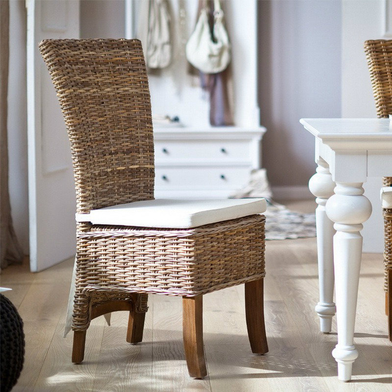 Wondrous Shore Coastal Wicker Dining Chair With Cushion Caraccident5 Cool Chair Designs And Ideas Caraccident5Info