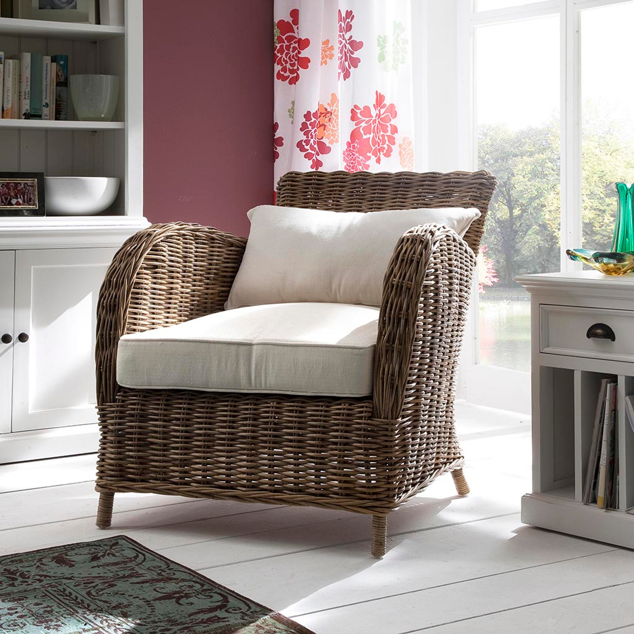 Fantastic Kelly Coastal Rattan Accent Chair Pabps2019 Chair Design Images Pabps2019Com