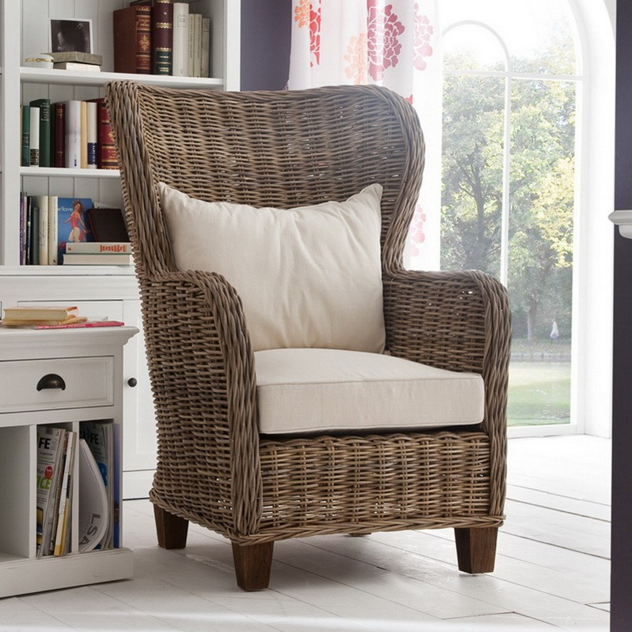Pleasant Garry Coastal Rattan Wingback Accent Chair Bralicious Painted Fabric Chair Ideas Braliciousco