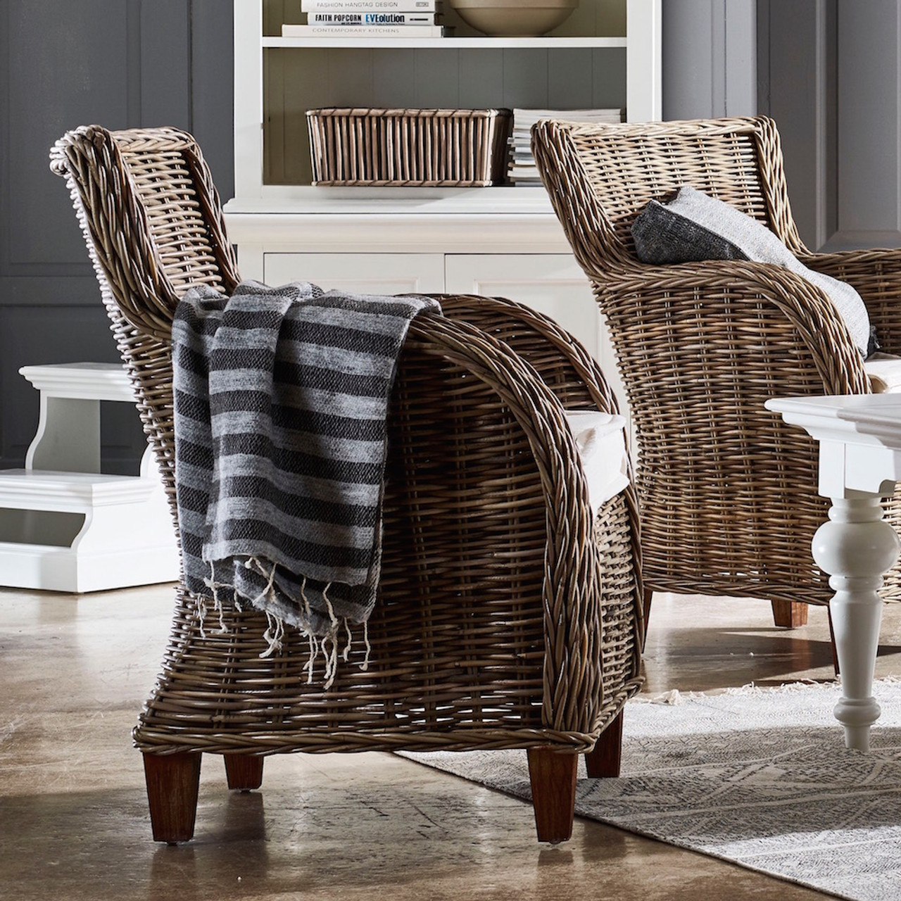 Wicker Accent Chairs.Cathy Coastal Wicker Accent Chair