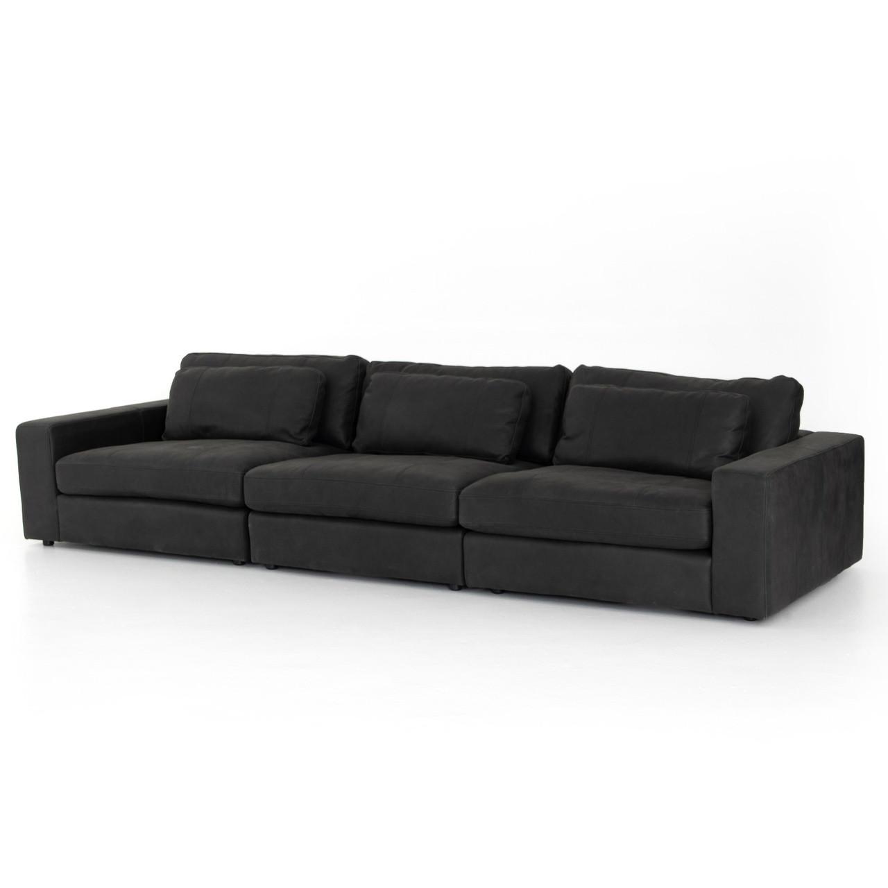 Bloor Black Leather 3-Piece Modular Sofa 135\