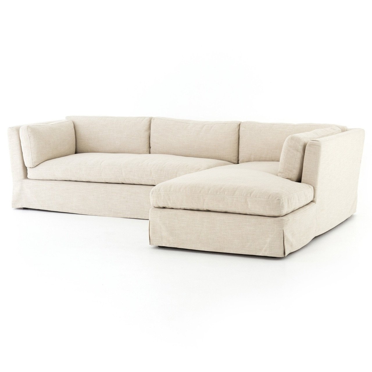 Garrison Coastal Ivory Slipcovered Sectional Sofa