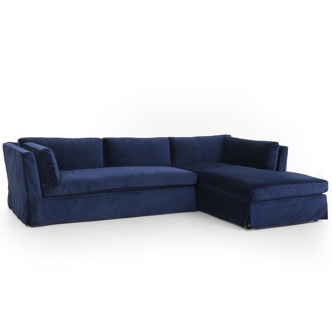 Garrison Coastal Navy Velvet Slipcovered Sectional Sofa 125 Zin Home