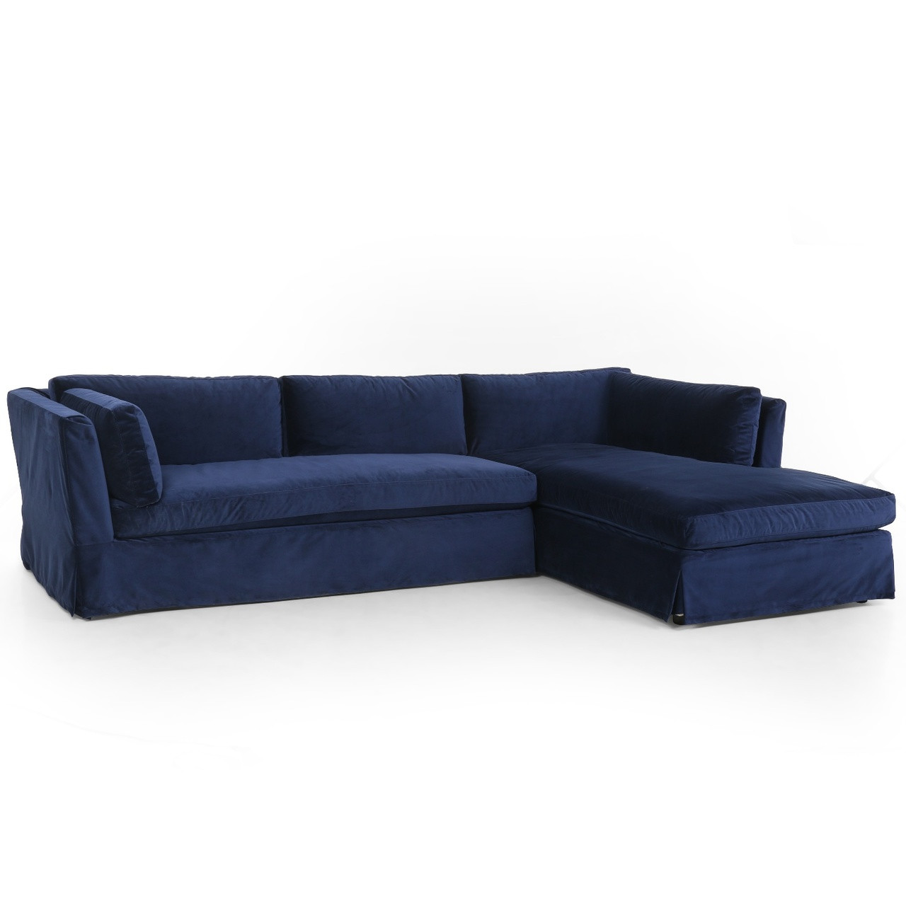 Garrison Coastal Navy Velvet Slipcovered Sectional Sofa