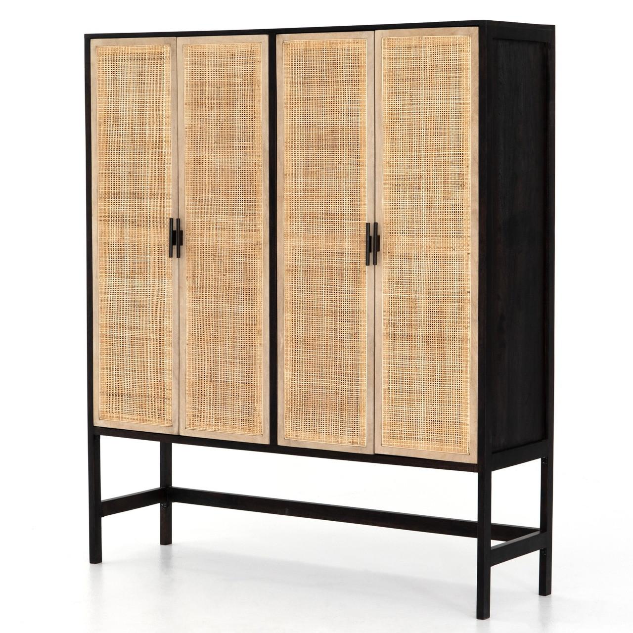 Merveilleux Audrey Woven Wicker 4 Door Storage Cabinet
