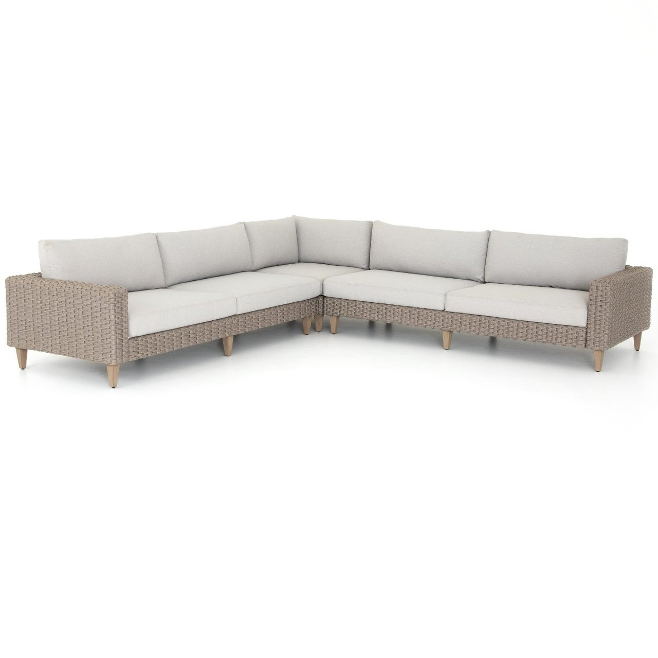 Remi Grey Woven Rope Outdoor 3-Pc Corner Sectional Sofa 122\