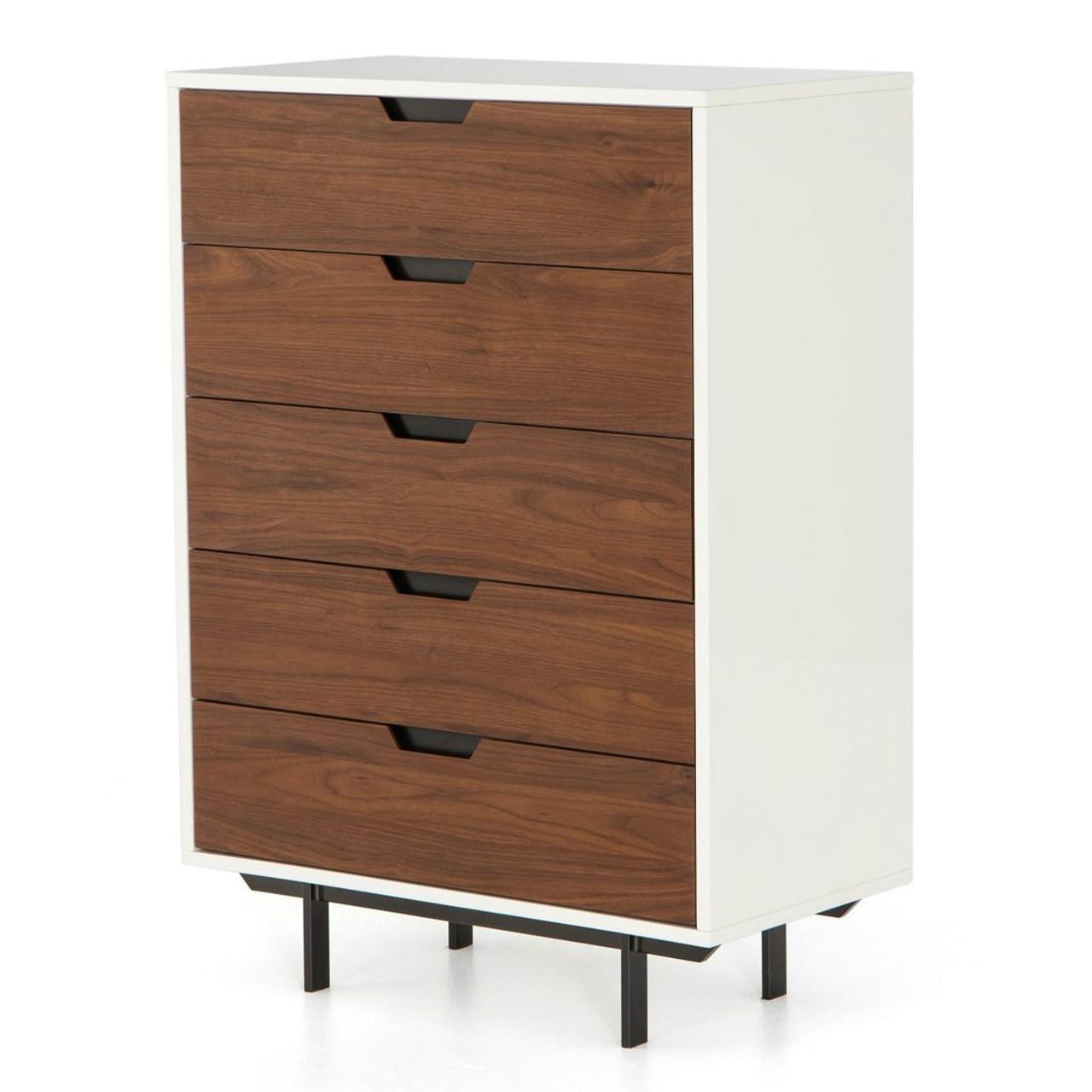 Tucker walnut wood white lacquer 5 drawer dresser