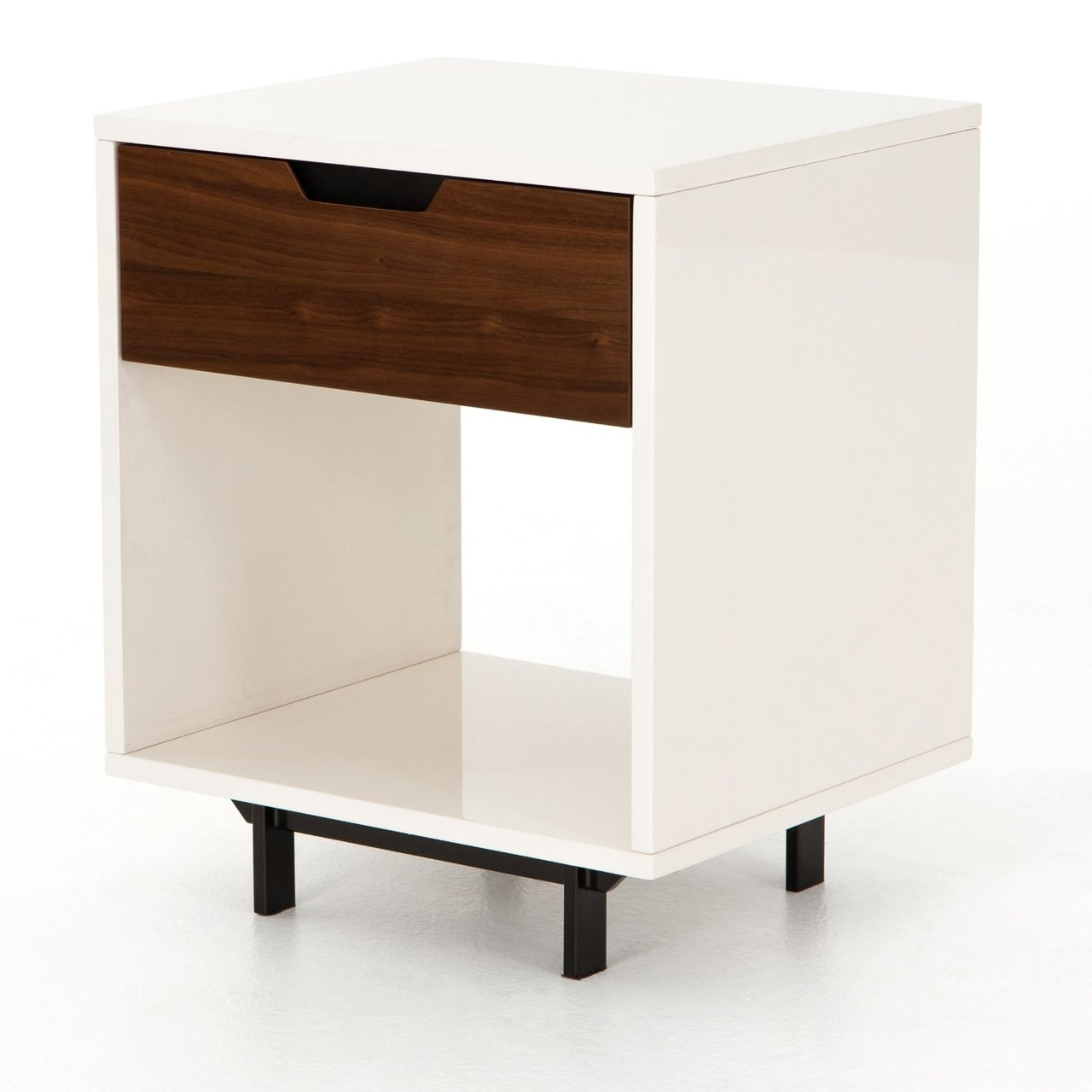 Tucker Walnut Wood White Lacquer Nightstand