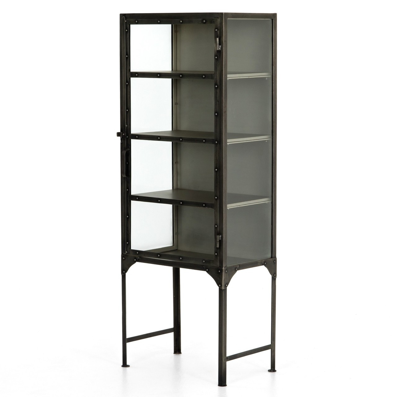 Element Industrial Antiqued Nickel Display Cabinet