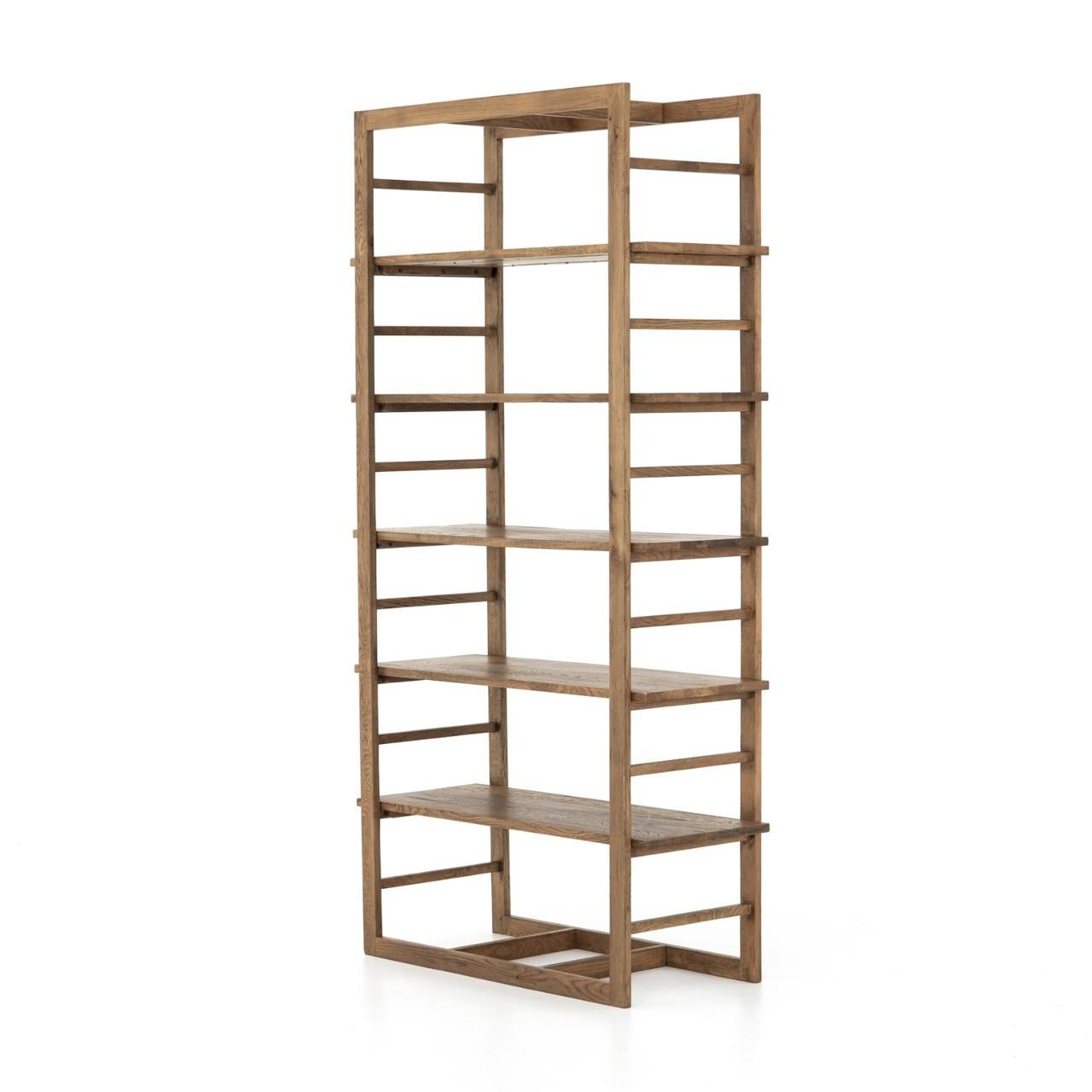 Mack Contemporary Oak Wood Bookshelf