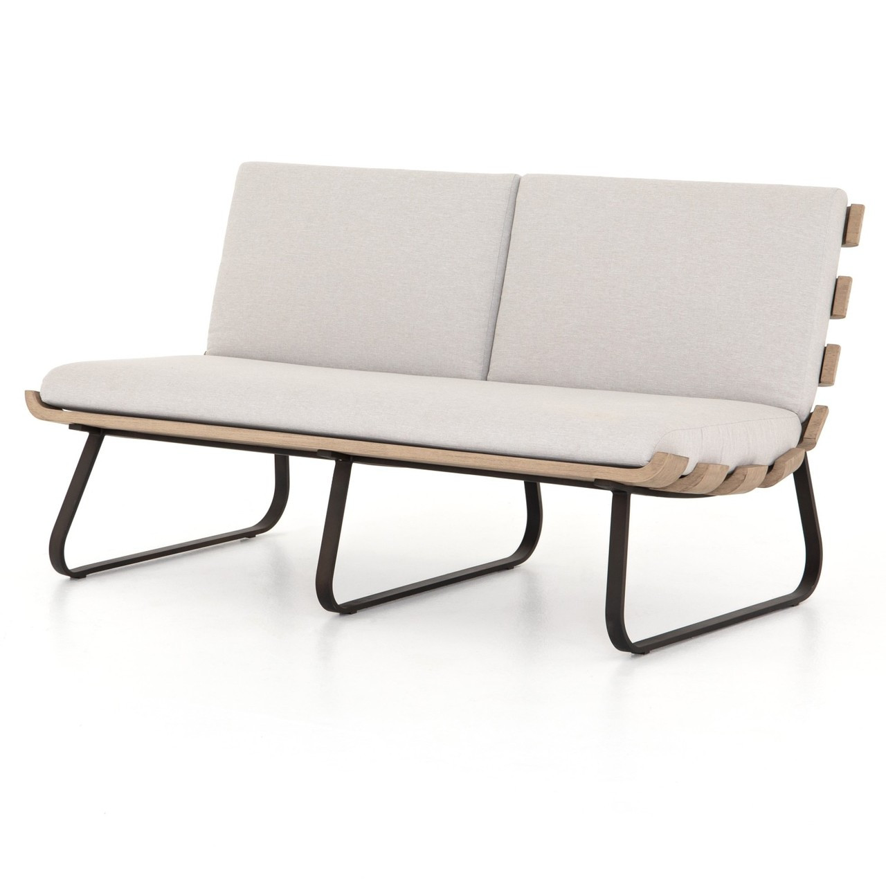 Dimitri Teak Wood Grey 2-Seater Armless Outdoor Sofa 63\