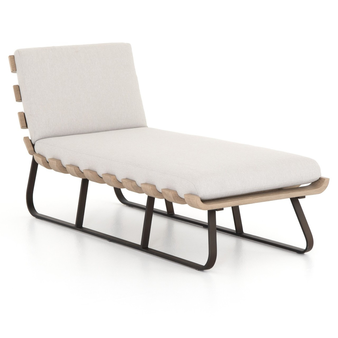 Dimitri Teak Wood Grey Outdoor Chaise Lounge Daybed Zin Home