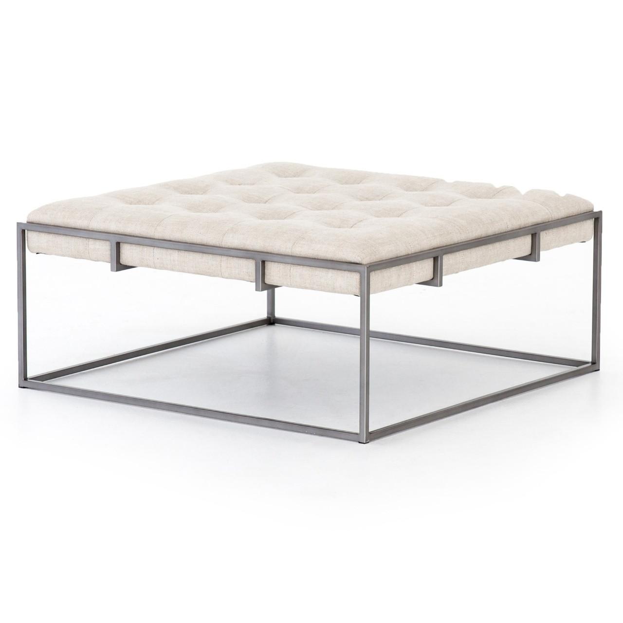 Peachy Oxford Tufted Linen Square Ottoman Coffee Table 36 Machost Co Dining Chair Design Ideas Machostcouk