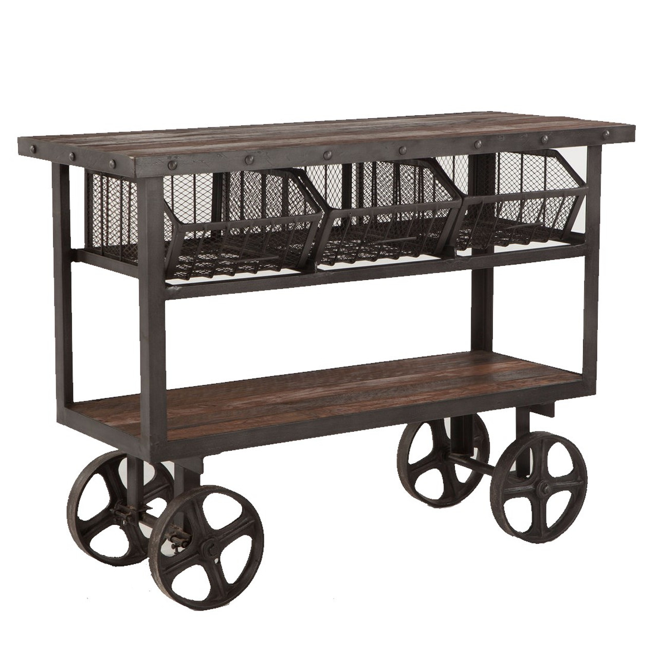 Industrial Teak + Iron Rolling Kitchen Cart 48\