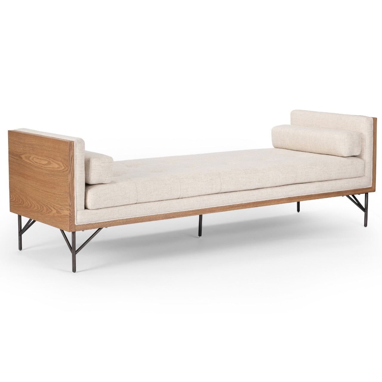 - Holden Mid Century Exposed Wood Frame Daybed Chaise-Cream Zin Home