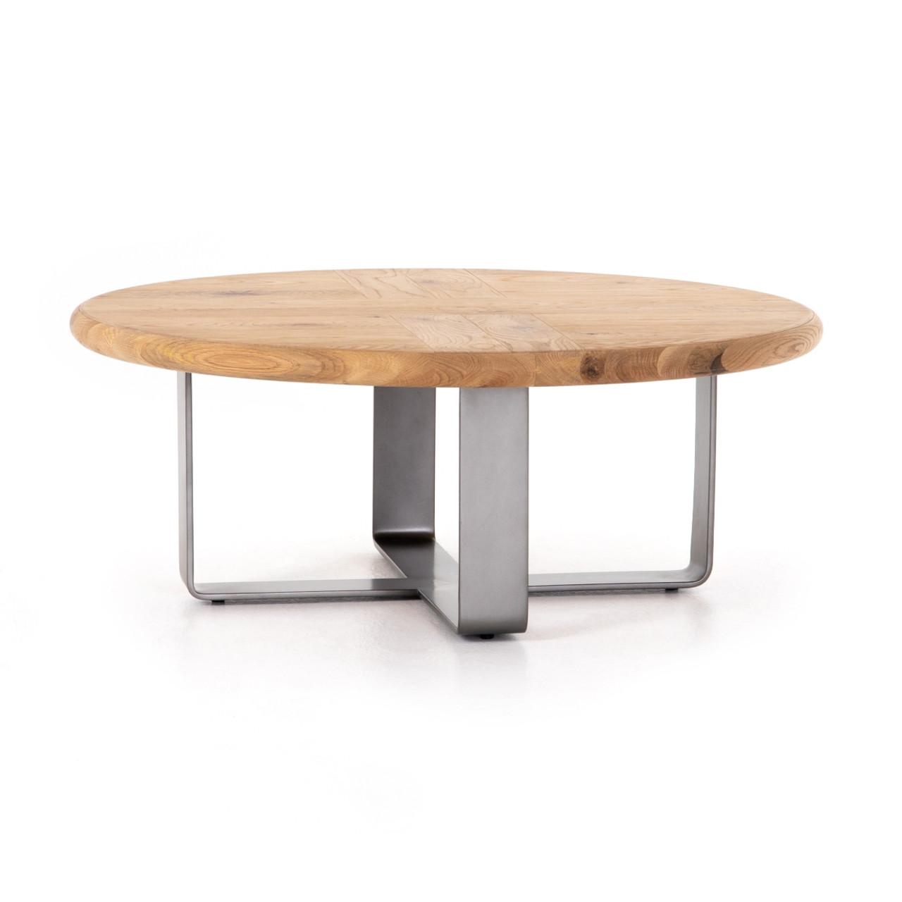 - Skate Oak Wood + Metal Round Coffee Table 42