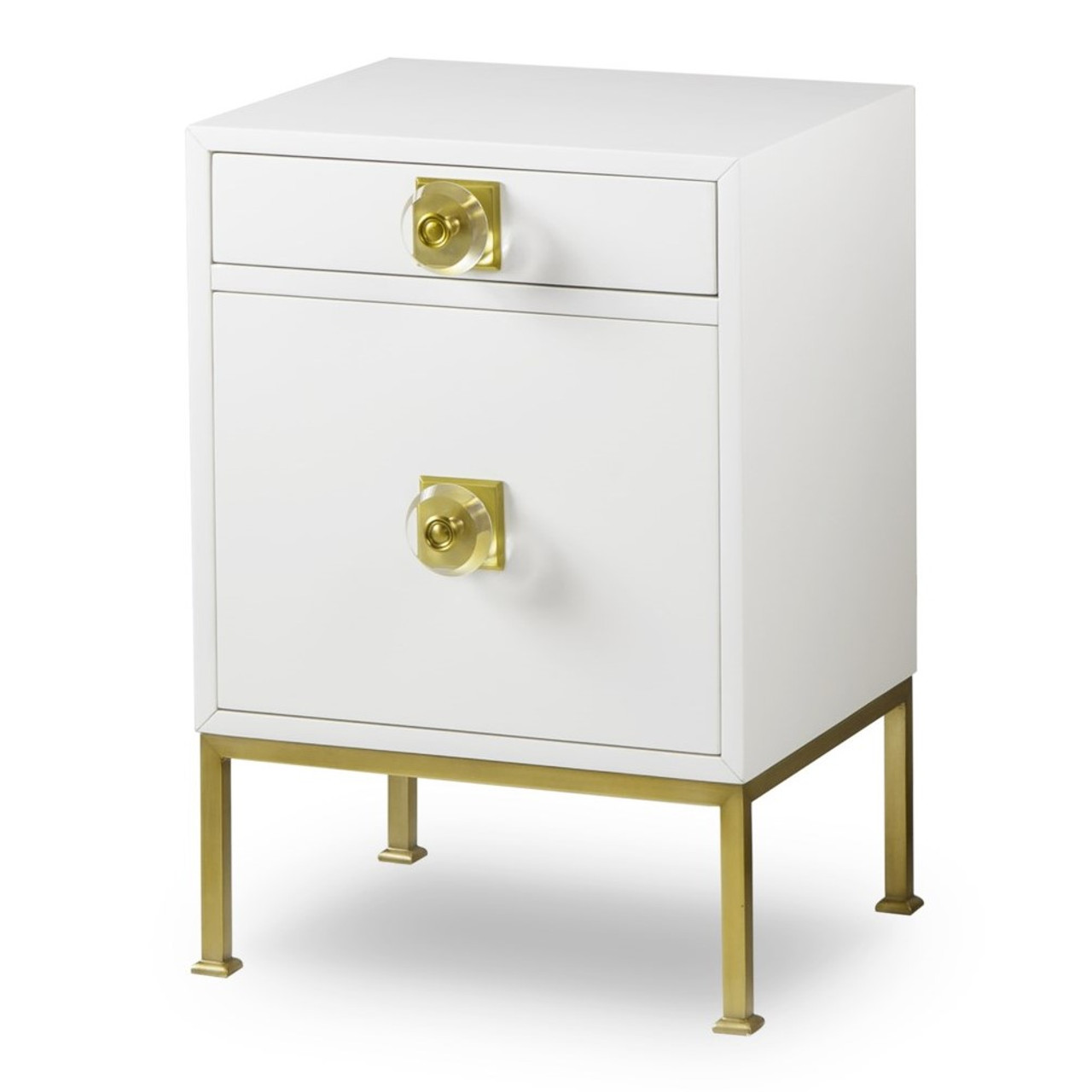 Tracey Boyd Formal White Lacquer Gold Nightstand Zin Home