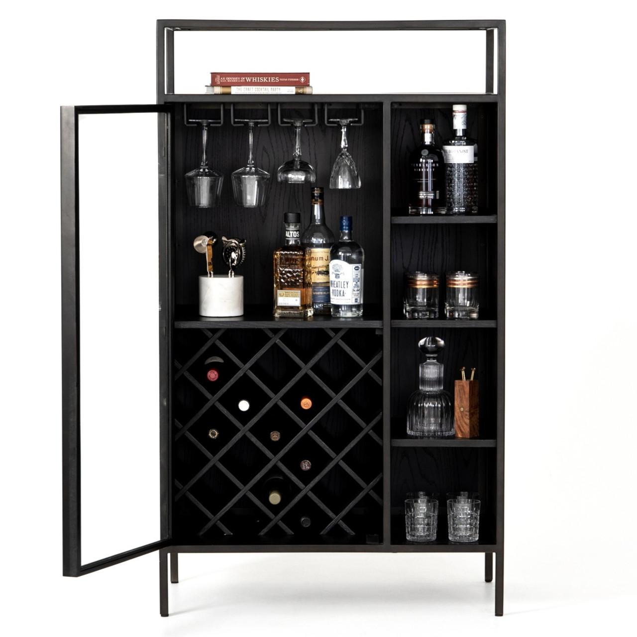 Branson Modern Industrial Black Bar Cabinet Zin Home