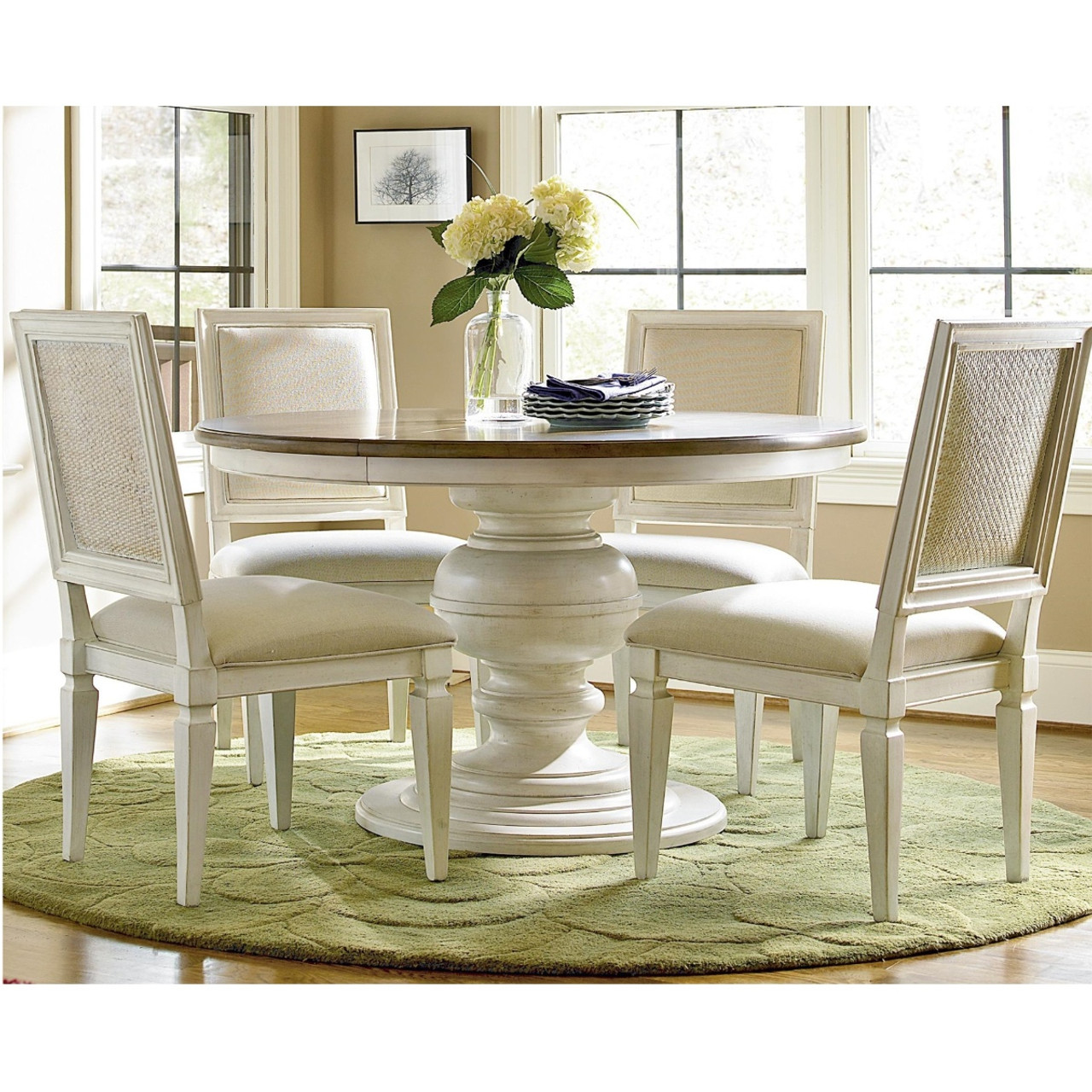 Country Chic 5 Piece Round White Dining Room Table Set Zin Home