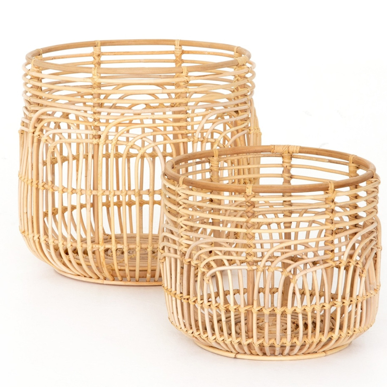 Aldo Woven Natural Rattan Basket Set Of 2 Zin Home