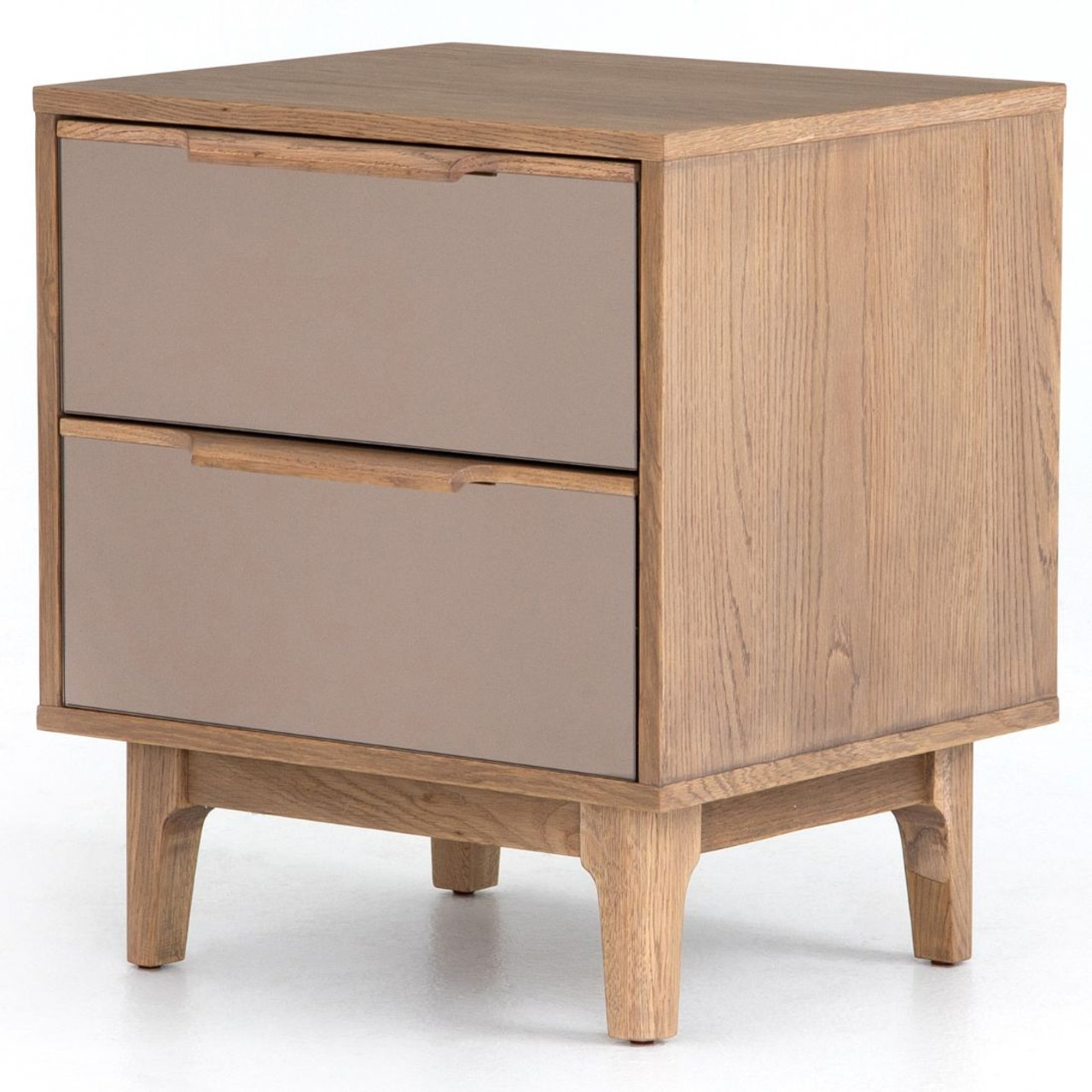 Finch Modern Oak Wood 2 Drawers Mirrored Nightstand Zin Home