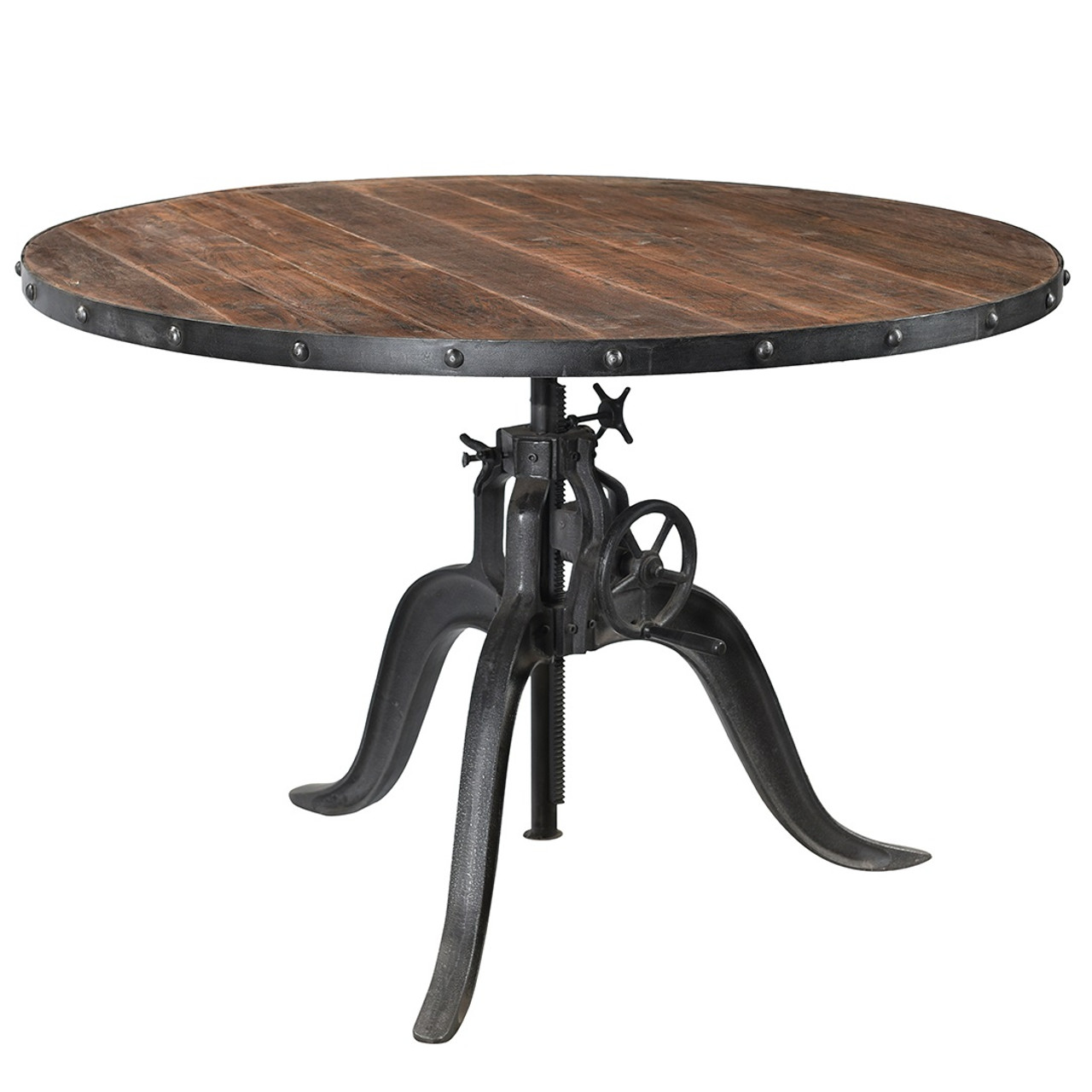 Picture of: Industrial Iron Teak Wood Crank Dining Table 48 Zin Home