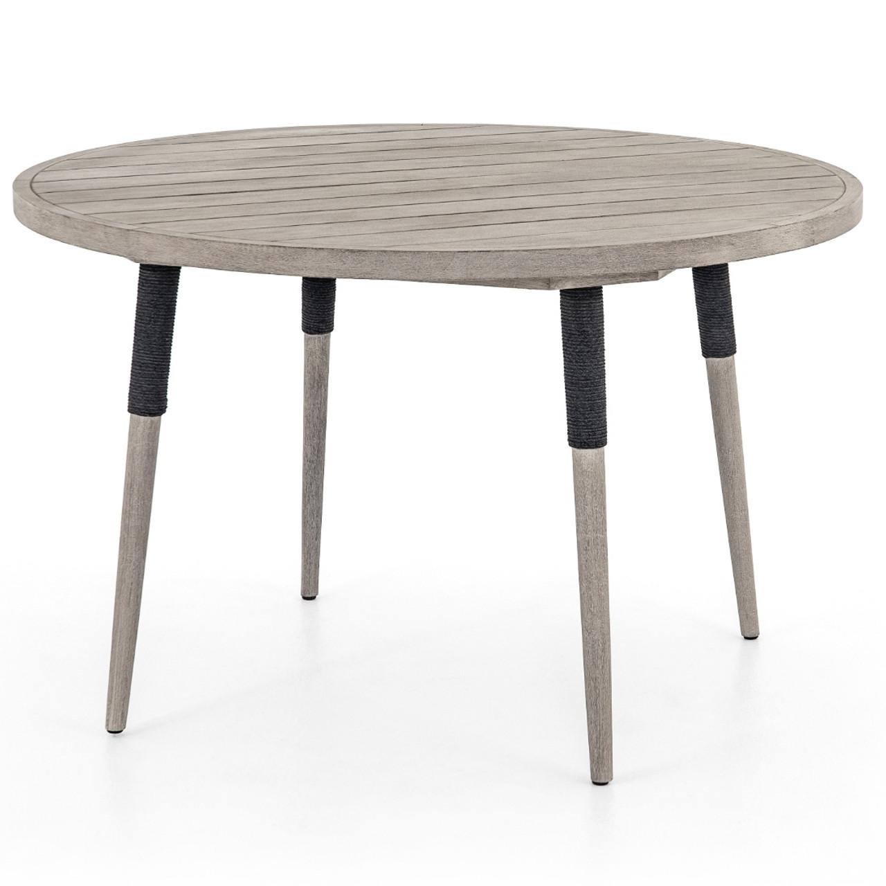 Sana Grey Teak Top Round Outdoor Dining Table 48 Zin Home