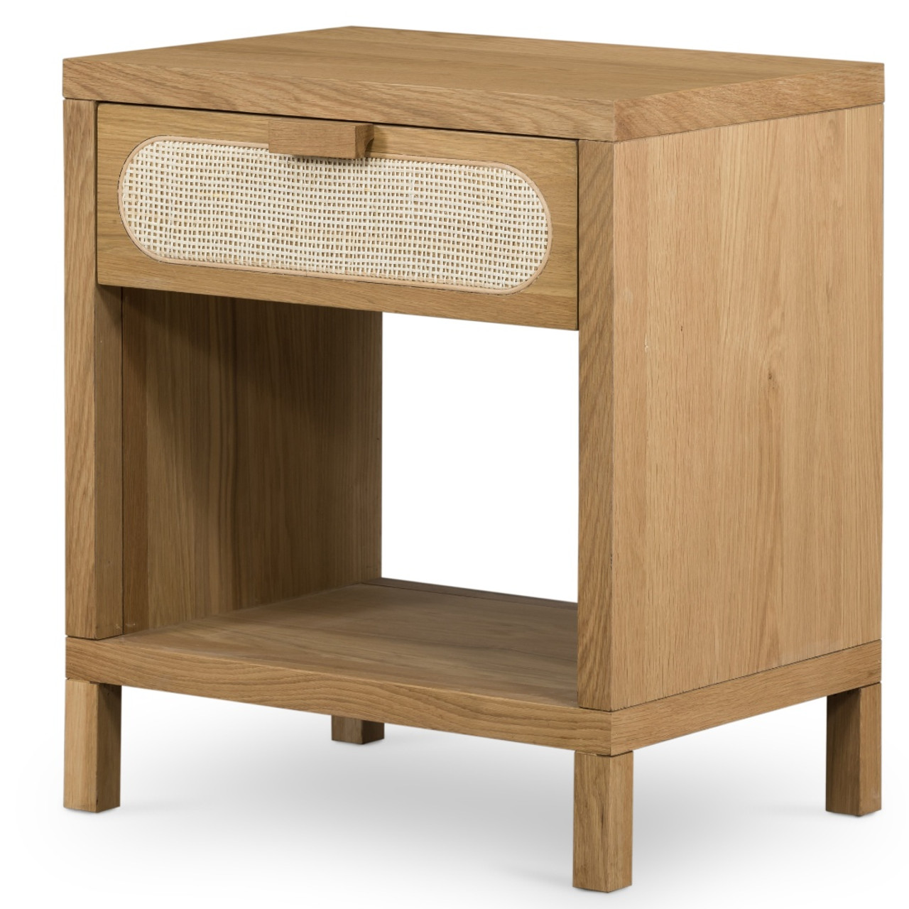 Allegra Woven Cane 1 Drawer Oak Wood Nightstand Zin Home