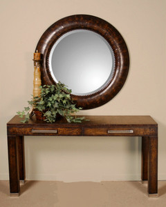 Leonzio Leather Frame Round Wall Mirror