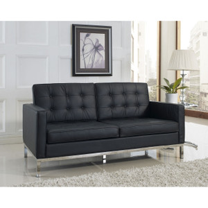 Florence Style Leather Loft Loveseat