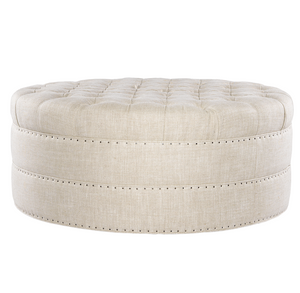 Grand Linen Upholstered Round Tufted Ottoman