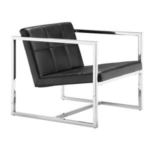 Carbon Black Leather Club Chair