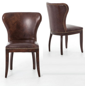 Richmond Vintage Tan Leather Wingback Dining Chair