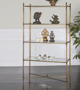Henzler Gold Leaf Glass Shelf Etagere Bookcase