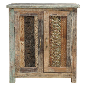 Carved Wood Block Cabinet