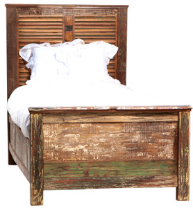 Shabby Chic Twin Size Panel Bed Frame