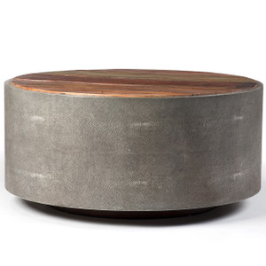 "Round 38"" Reclaimed Wood Shagreen Coffee Table"