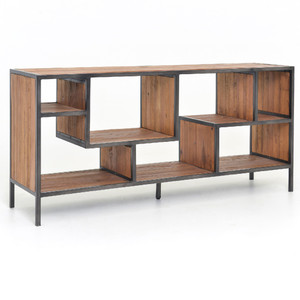 Geometric Wood and Iron Bookcase Console