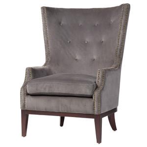Lillian Grey Velvet Wingback Chair