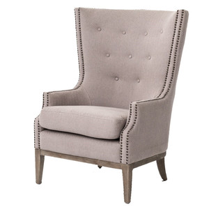 Lillian Grey Chevron Wingback Hostess Chair
