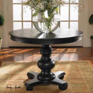 """Brynmore Black Round Pedestal Table 42"""""""