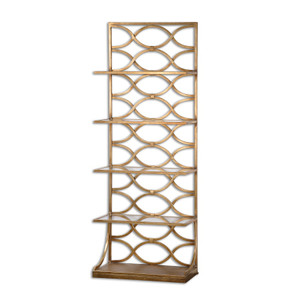Lashaya Polished Gold Leaf Etagere Display Shelf