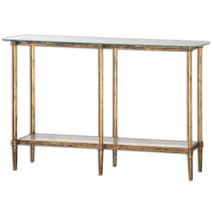 Elenio Bright Gold Leaf Glass Console Table