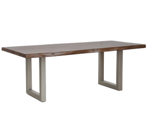 Montana Solid Wood Metal Leg Dining Table 94""
