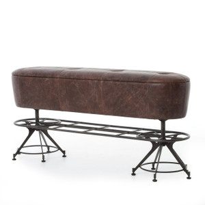 Pommel Horse Vintage Leather Counter Bench
